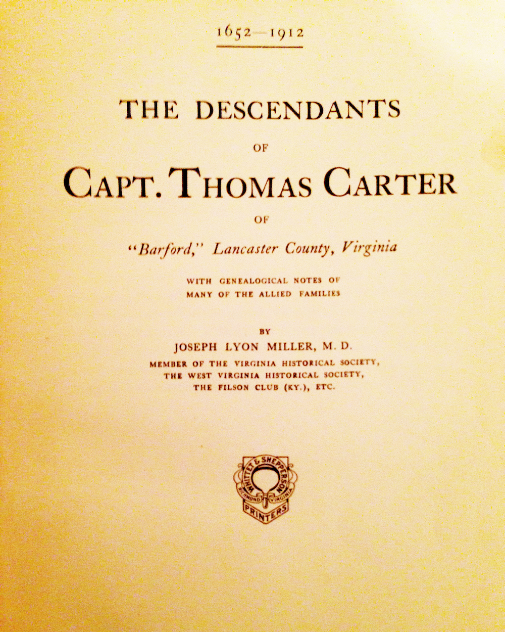 The Descendants of Captain Thomas Carter